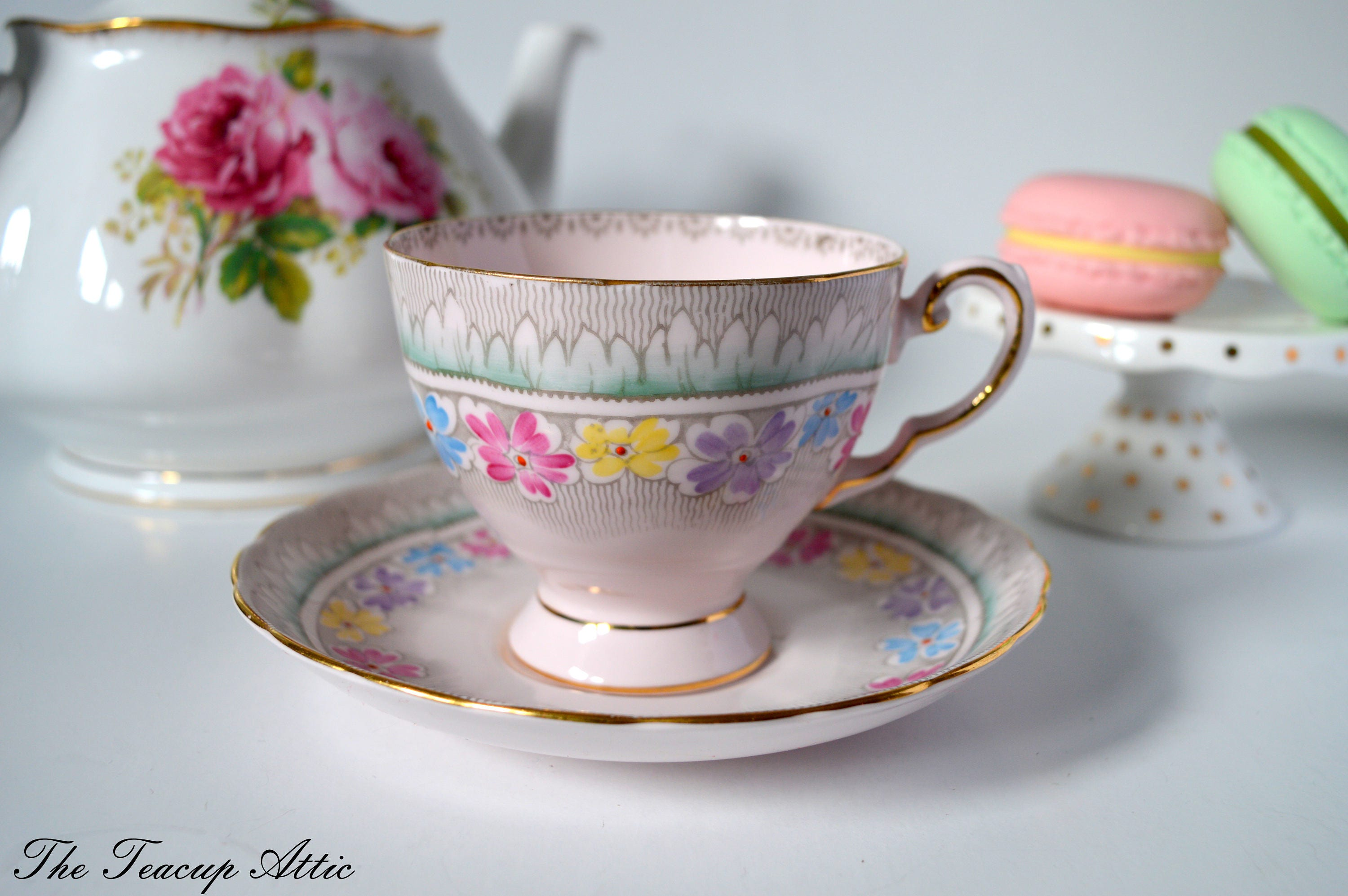 Tuscan Vintage Pink Teacup and Saucer With Hand Painted Flowers, English Bone China Tea Cup, Wedding Gift, ca. 1947