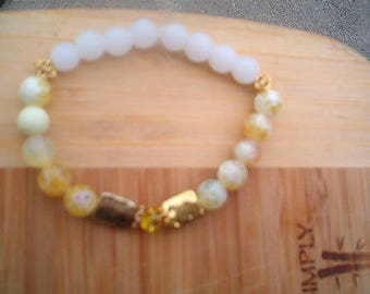 Yellow Fire Agate & White Glass Bead Bracelet, Lemon Chiffon, Stretch, Elegant, Unique, Stunning Bracelet