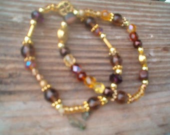 Set of 2 Bracelets, Beaded Brown and Gold Bracelet, Stretch, Glass, Czech Beaded, Stacking, Handcrafted