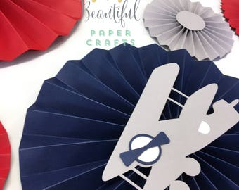 Vintage Airplane Paper Fans | Vintage Airplane Baby Shower |Airplane Birthday | Airplane Rosettes | Airplane Backdrop | Party Fans| 9 pc set