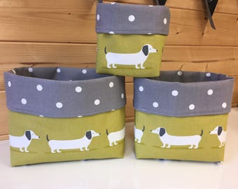 Dachshund Fabric storage basket doxie sausage dog organiser handmade fabric basket