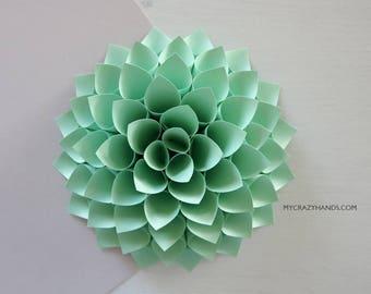 nursery wall decor || 7'' dahlia wall decor || paper dahlia || wedding flower | origami gifts || baby photography backdrop -mint green