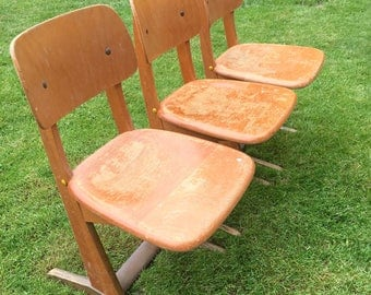 Mid-Century Modern Small Child's Chair Wood Very Sturdy - 3 available