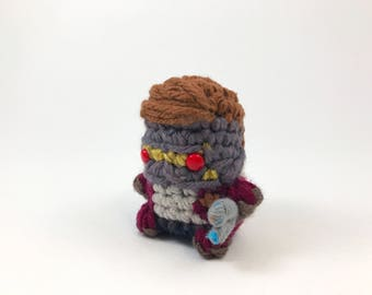 "Star Lord from Guardians of the Galaxy Amigurumi Kawaii Keychain Miniature Doll ""Pod People"""