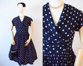 1950's Navy Blue and White Polka Dot Silk Chiffon Dress | Full Skirt Dress with Cape Collar