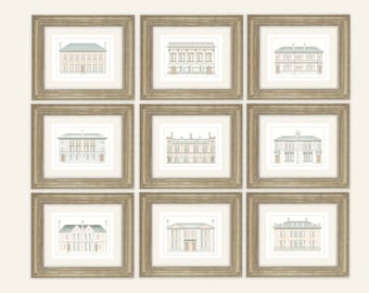 Set of 9 Architectural Prints of Pastel English Manor House Drawings on Archival Watercolor Paper