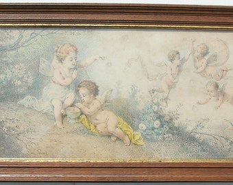 Original antique,cherubs,French gravure,Lucien Penet,signed color print,cherubs with butterfly wings,roses in aged,dark wood & gilt frame