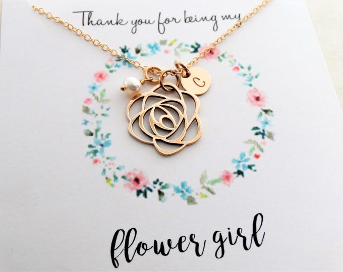 Featured listing image: Flower Girl gift  Flower girl necklace with message card initial necklace freshwater pearl necklace Bridesmaid Gift Personalized Jewelry