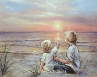 "ORIGINAL pastel painting, Beach Brother Sister Sunrise sunset, wall art, ""Good Morning Sunshine""  Laurie Shanholtzer"