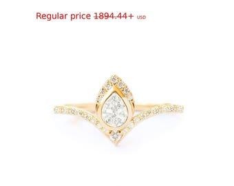 Summer Sale! Natural Pear Diamond Engagement Ring, Chevron Band Diamond Pave Ring, Teardrop Diamond Ring, Gold 14K/18k Diamonds Pave Shank T
