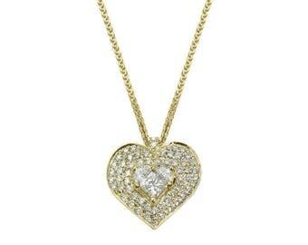 Heart Necklace - Diamond Pendant Necklace, 14K / 18K Solid Gold Necklace, Heart Pendant, Solitaire Diamond Necklace, Heart Diamond