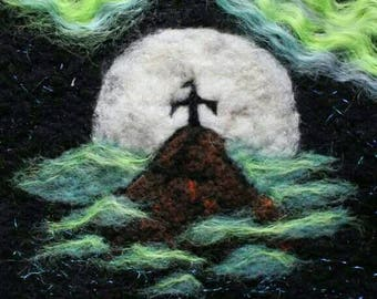 Wizard of Jade Mountain Needle Felted Wall Art