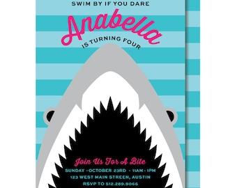 Girl Shark Birthday Invitation, Pink Shark Party Invitations