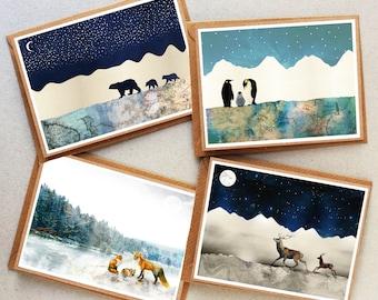 Winter Animal Card Set, Christmas Card Set, Thank You Cards, Penguin Print, Polar Bear Print, Fox Family, Card Pack, Greeting Card, Card