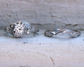 Deco Vintage 14K White Gold Diamond Engagement Two Ring Set - 0.68ct.