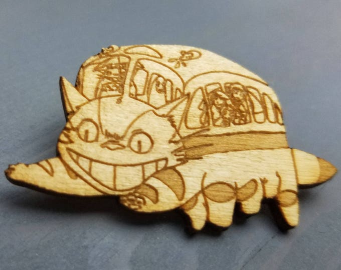My Neighbor Totoro Cat Bus Pin | Laser Cut Jewelry | Wood Accessories | Wood Pin | Handmade |