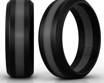 Silicone Wedding Ring Band by Knot Theory - Black with Dark Grey Stripe - 8mm Lightweight Sleek Design