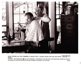 Vintage Kevin Costner and Paul Newman In Message In A Bottle 1999 Movie Promotional Photograph Black & White