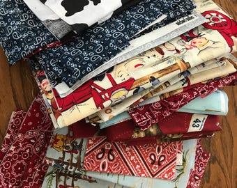 Western Fabric Scraps Destash Lil Cowpokes Bandana Cow Print