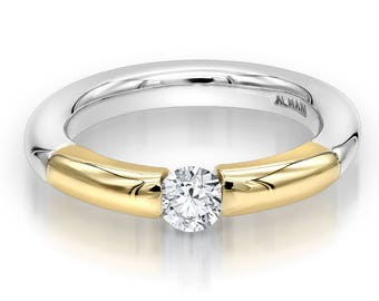 """The Almani """"Jessica"""" Ring 18K Gold Two Tone Ring 3.5mm Wide 0.50ctw."""