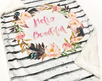 Hello Beautiful Baby Lovey Blanket, Floral Quote Baby Blanket, Baby MINKY Lovey Blanket, Baby Girl Blanket, Baby's First Christmas