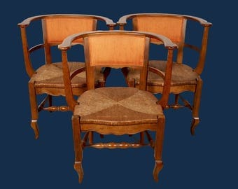 French Rush Seat Barrel Chairs, Set of 3