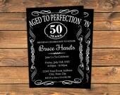 Im Alter bis zur Perfektion-Geburtstags-Party-Einladung, einladen bedruckbare Vintage Whisky Bourbon Einladungskarten, Ruhestand, jeden Alters und Veranstaltung