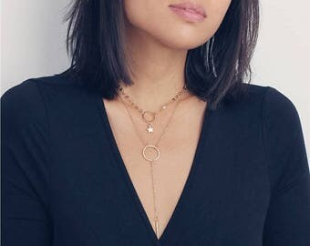 ON SALE Gold Tattoo Star Chain &  lariat Halo Y necklace - Layered Necklace