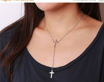 ON SALE Delicate simple everyday lariat cross dangles necklace