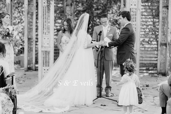 Cathedral Veil with Lace on the end | wedding veil, ivory, veils with train, cathedral royal veil, traditional lace veil, gorgeous lace veil