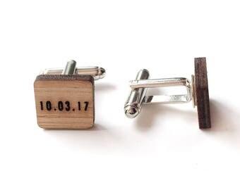 FIVE PAIRS of Customized cufflinks - Wedding cufflinks - Date cufflinks - lasercut wooden cufflinks - 5 year anniversary - groom cufflinks