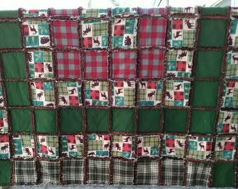 At the Cabin Throw Size Rag Quilt