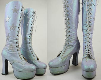 90s Does 70s Lilac Glitter Silver Stars Lace Up Knee High Platform Boots UK 8 / US 10.5 / EU 41
