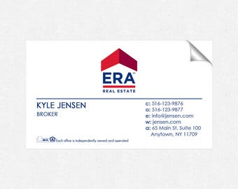 ERA real estate deluxe glossy stickers - business card size - high end - crack and peel - FREE UPS ground shipping