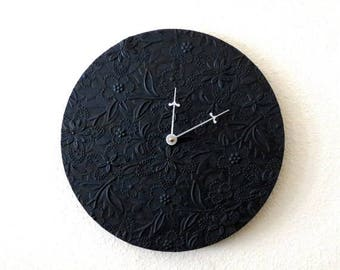 Minimalist  Wall Clock,  Black Clock, Unique Wall Clock,  Home and Living,  Decor & Housewares, Home Decor, Recycled Art, Unique Gift,