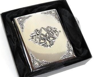 Men Cigarette Case Silver Metal 100's Cigarette Case Gothic Cigarette Case Dragon Cigarette Case Gift for Men Women Cigarette Box