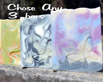 3  Bars - You chose!  Luxurious Shea and Cocoa Butter Artisan Soaps hand made in BC, Canada