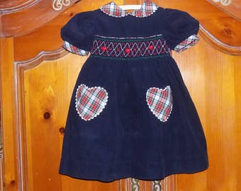 Sz, 4T, Navy Blue and Plaid Dress