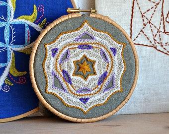 beginner embroidery pattern, STAR mandala, modern handembroidery, contemporary, mandala embroidery pattern, diy hoop art, home decor