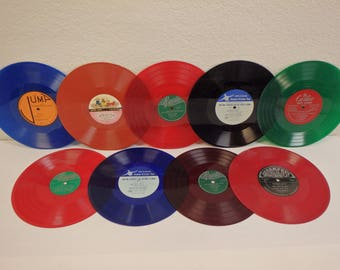 """COLORED VINYL Used 10"""" Vinyl Records For Crafting LOT of (9) 10"""" Records Only No Sleeves Green/Orange/Red/Dark Red/Blue/Blue-Brown"""