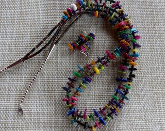 28 Inch Southwestern Double Strand Colorful Shell and Heishi Necklace with Earrings