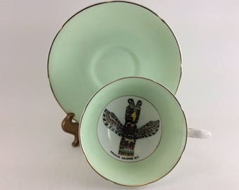 Royal Grafton Cup and Saucer Totem Pole Prince George BC Footed Fine Bone China Made in England Tea Party Wedding Bridal Shower Mint Green