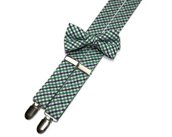 Boys Tattersall Suspenders~Plaid Suspenders~Kelly Green and Navy Plaid~Easter Suspender~Suspenders Matching Bow Tie~Easter Bow Tie