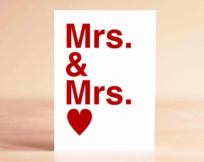 Lesbian Wedding Gift - Lesbian Wedding Card - Lesbian Anniversary Card - Mrs. & Mrs.
