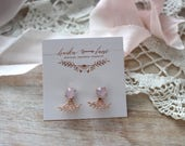 rose quartz - crystal studs- rose gold ear jackets- bridesmaid gift - wedding gift - gift for her - handmade - haiku lane - crystals -