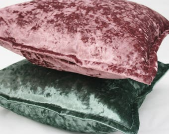 Luxury Crushed Velvet Oxford Cushion in Blush and Green 16 Inch