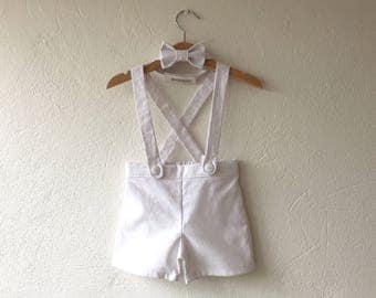 White linen cotton ring bearer outfit baby boy suspender shorts