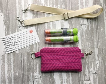 EpiPen Case with Strap, Insulated EpiPen Bag, Kids Epi Pen Pouch, Diabetes Supply Bag, Insulated Insulin Case, Allergy Bag with Strap