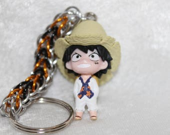 Custom, Handcrafted Monkey D. Luffy One Piece chainmaille keychain