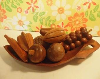 Mid Century Modern Centerpiece - Wood Bowl And Wood Fruit - Alii Woods - Honolulu